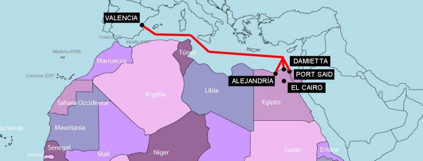 Mapa destinos exportacion Egipto