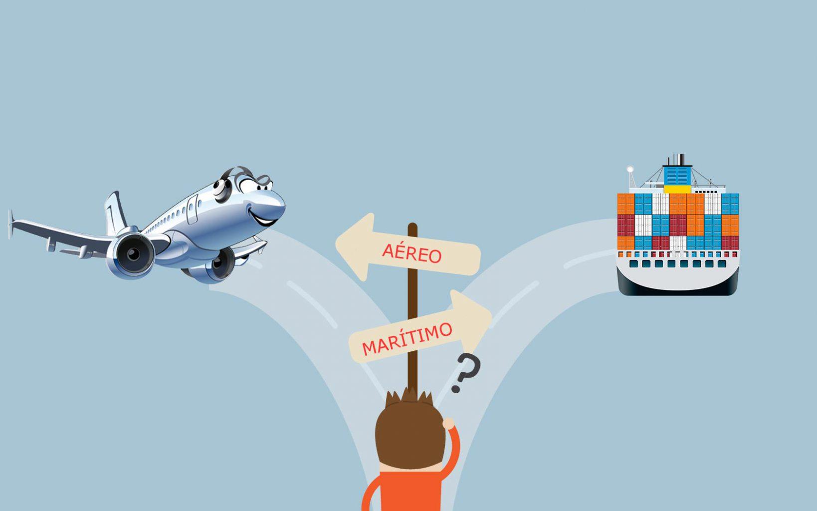 transporte aéreo vs maritimo